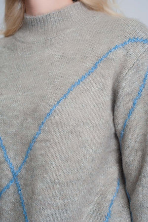 Knitted Jumper with Front Stripes in Grey - Himelhoch's