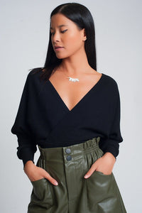 Knitted Sweater with Wrapped V-Neck in Black - Himelhoch's