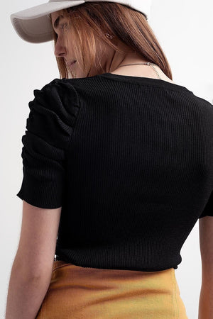 Knitted Top with Balloon Sleeves in Black - Himelhoch's