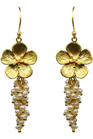 Flower With Pearl Cluster Vermeil Earrings - Himelhoch's