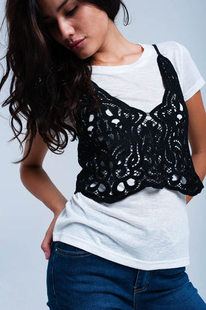 Layered black lace shirt - Himelhoch's