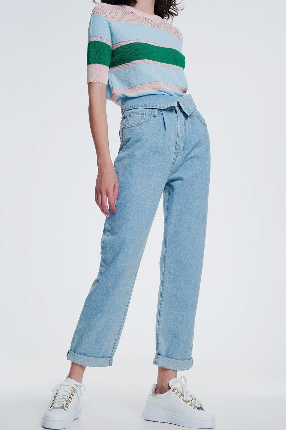 Q2 Light denim straight jeans with folded waist