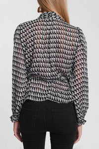 Lightweight Tie Front Blouse with Houndstooth Print in Black - Himelhoch's