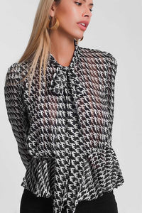 Lightweight Tie Front Blouse with Houndstooth Print in Black