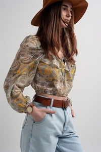 Long Sleeve Sheer Top with Shirred Waist and Tie Detail in Cachemir - Himelhoch's