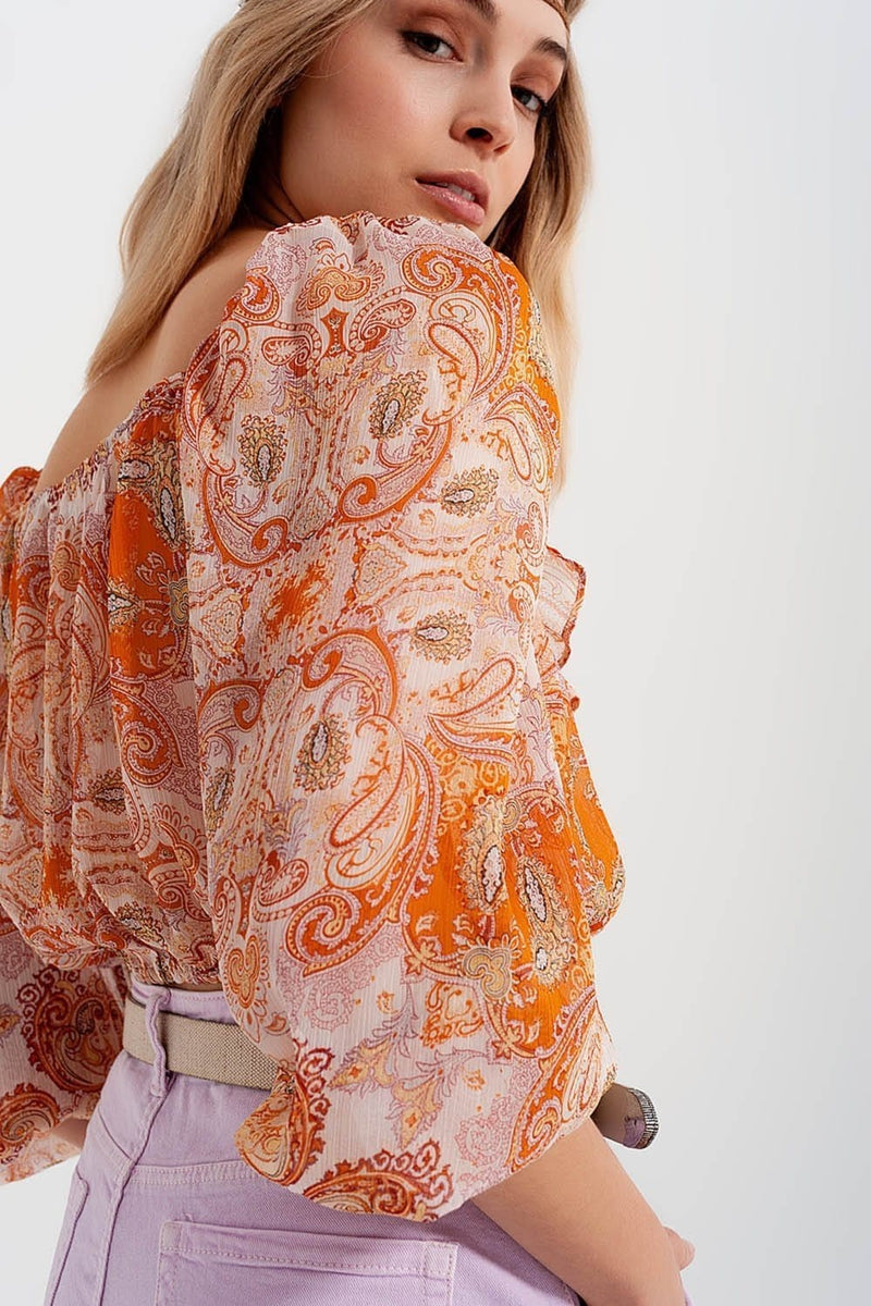 Long Sleeve Sheer Top with Shirred Waist and Tie Detail in Orange - Himelhoch's