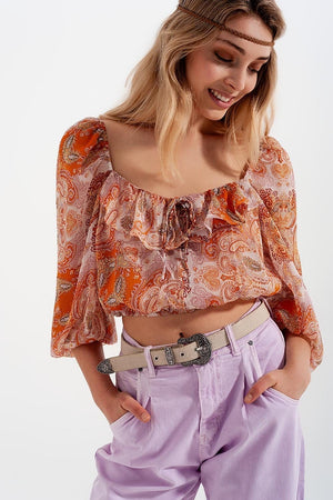 Q2 Long sleeve sheer top with shirred waist and tie detail in orange