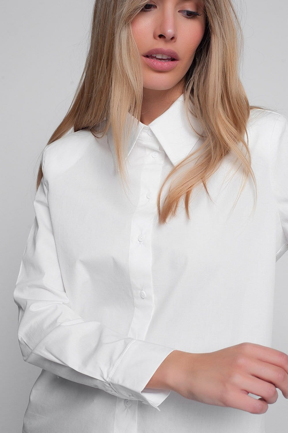 Long Sleeve Shirt with Shoulder Pads in White - Himelhoch's