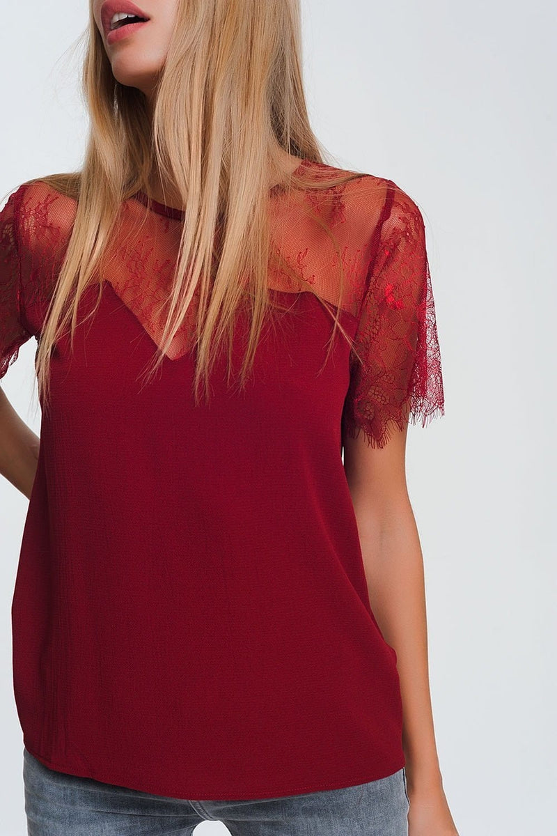 Maroon Shirt with Flowers in Lace - Himelhoch's