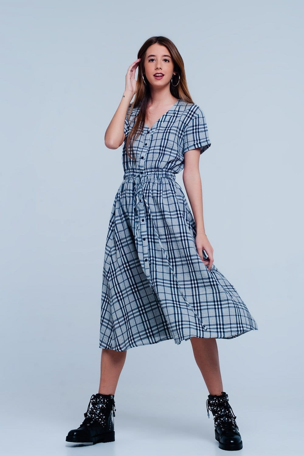 Q2 Maxi dress with gray checkers