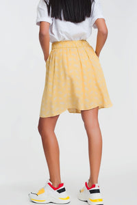 Mini Skirt in Vintage Floral Print in Yellow