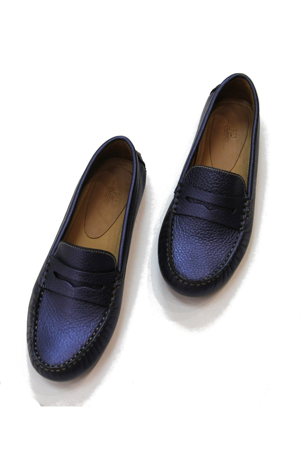 Lisa Leather Loafer in Blue - Himelhoch's