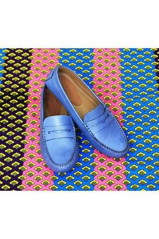 Lisa Leather Loafer in Sky Blue - Himelhoch's
