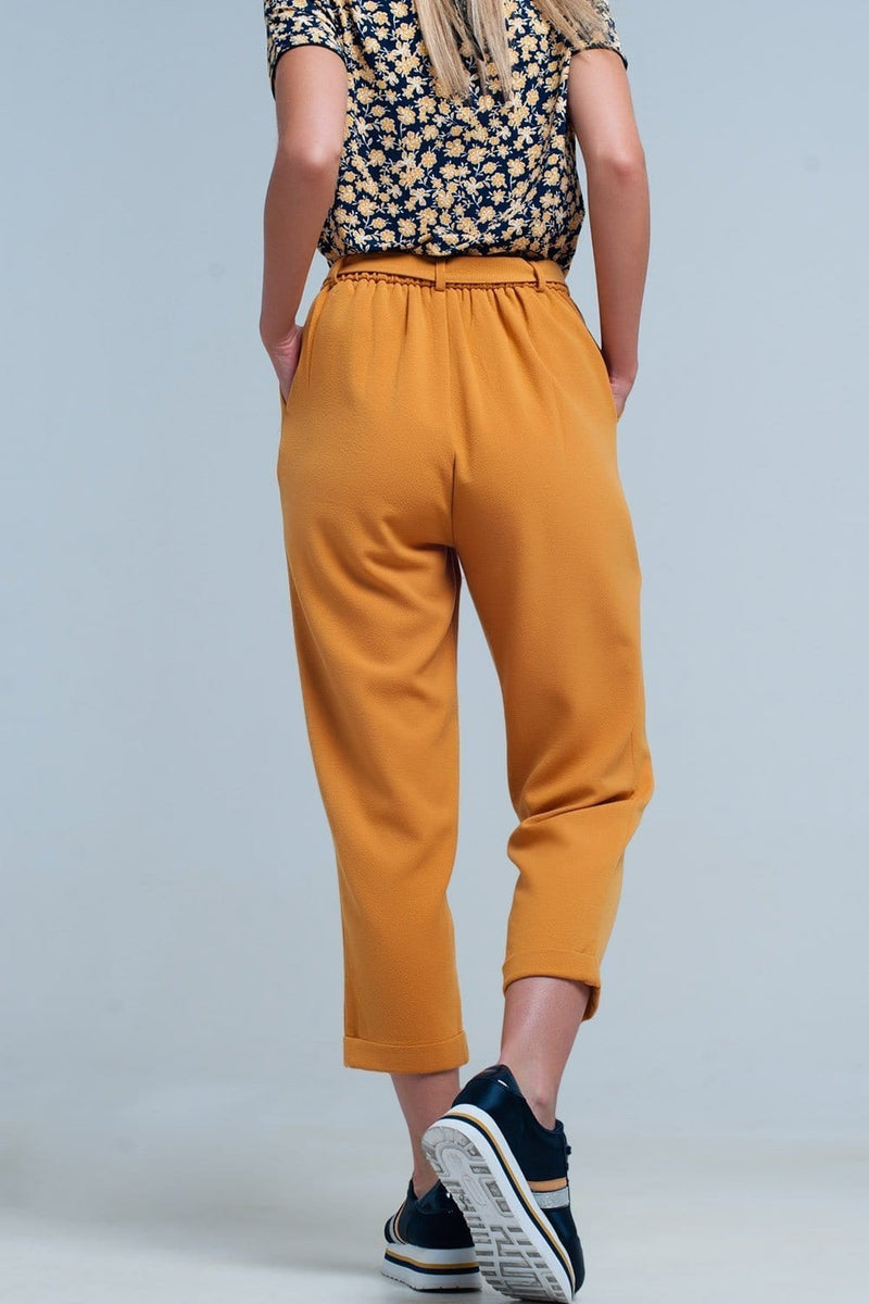 mustard high waisted pants with belt - Himelhoch's