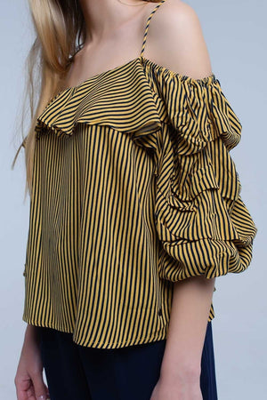 Mustard stripe off the shoulder top with ruffle sleeve