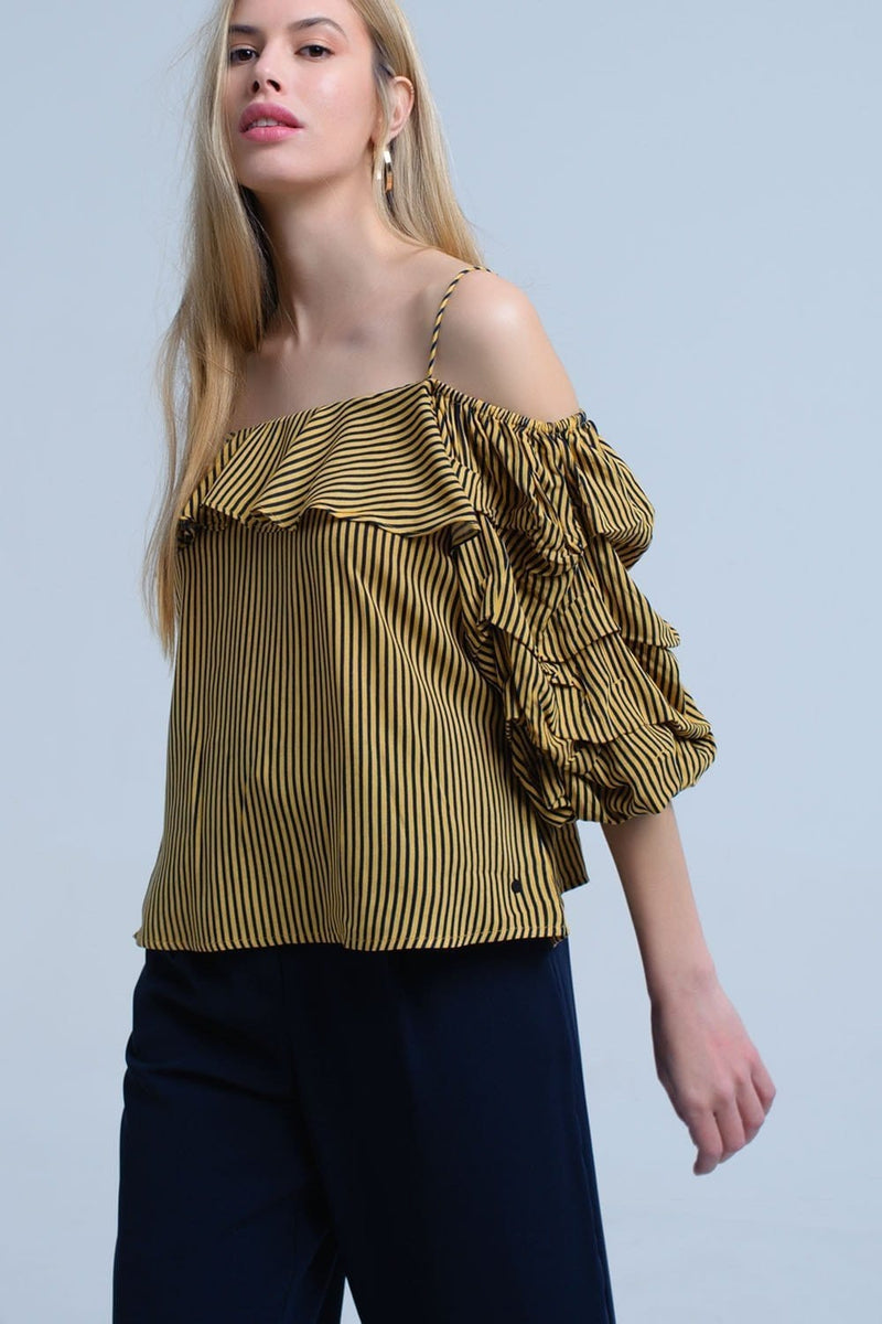 Q2 Mustard stripe off the shoulder top with ruffle sleeve