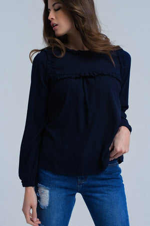 Q2 Navy shirt with ruffle detail