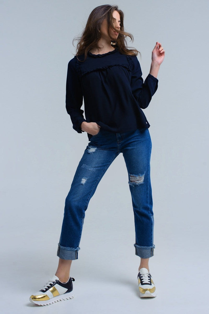 Navy shirt with ruffle detail