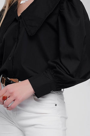 Oversized Collared Shirt in Black - Himelhoch's