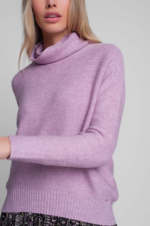 Oversized Jumper with Cowl Neck in Pink - Himelhoch's