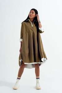Q2 Oversized poplin shirt dress in khaki
