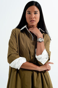Oversized Poplin Shirt Dress in Khaki - Himelhoch's