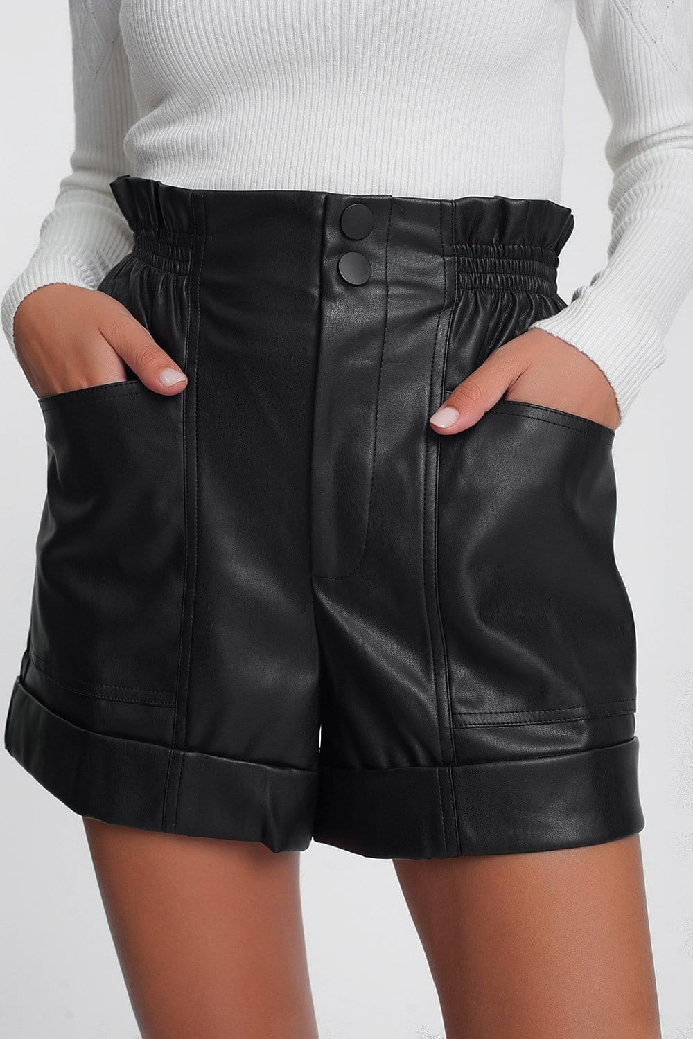 Paper-Bag Waist Faux Leather Shorts in Black - Himelhoch's