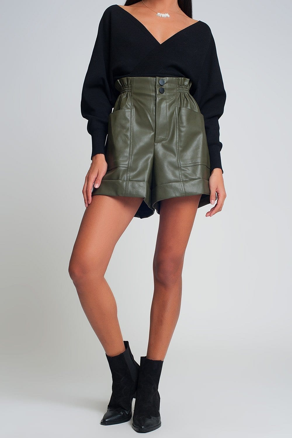 Paper-Bag Waist Faux Leather Shorts in Green - Himelhoch's