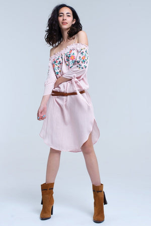 Q2 Pink off the shoulder embroidered midi dress