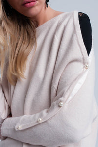 Pink pale knitted sweater with pearl detail - Himelhoch's