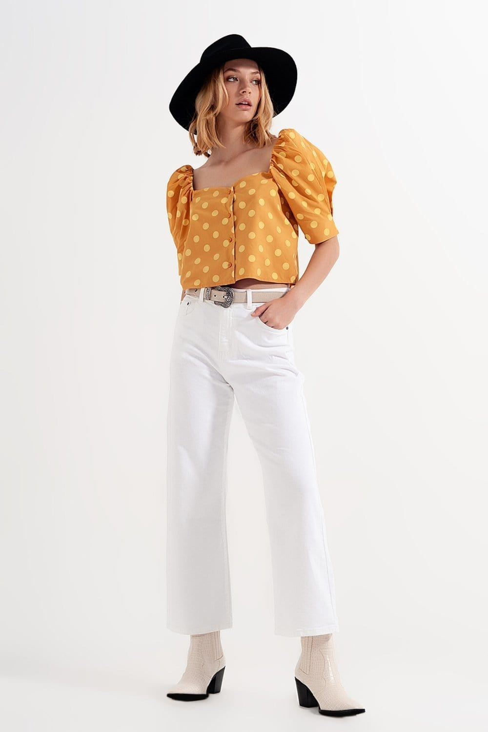 Polka Dot Top with Puffed Sleeves and Square Neckline in Yellow - Himelhoch's
