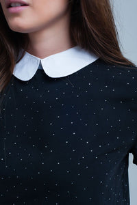polka dots top in black with pan collar - Himelhoch's
