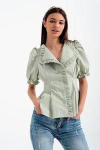 Q2 Poplin frill detail wrap blouse in green
