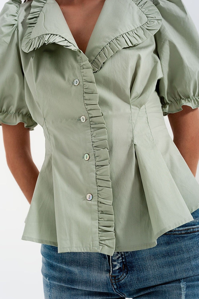 Poplin Frill Detail Wrap Blouse in Green - Himelhoch's