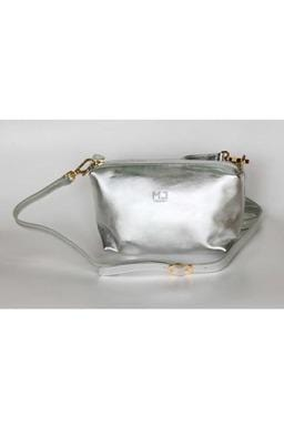 Fifi Leather Handbag in Silver - Himelhoch's