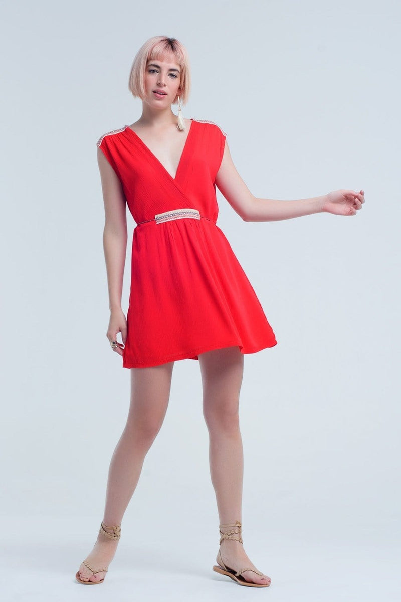 Q2 Red mini dress with embroidery