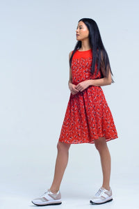 Q2 Red mini dress with print geo and bow