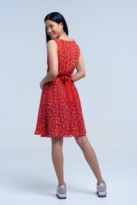 Red mini dress with print geo and bow - Himelhoch's