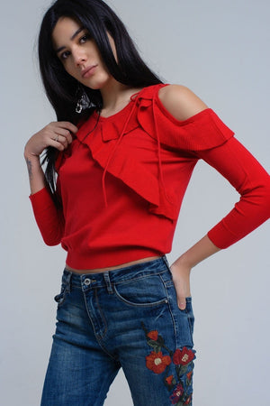 Red sweater with ruffle detail at front - Himelhoch's