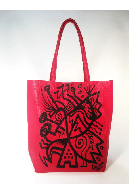 Hand Painted Cascardo Tote Bag (Red) - Himelhoch's