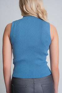 Ribbed Knit Sleeveless Sweater with High Neck in Blue - Himelhoch's