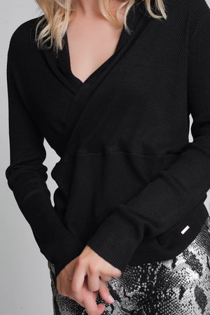 Ribbed Wrap Jumper in Black - Himelhoch's