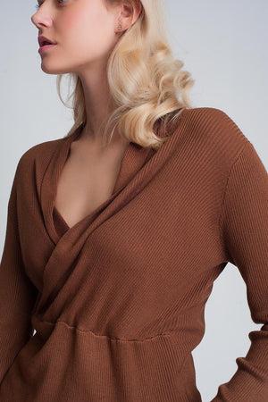 Ribbed Wrap Jumper in Brown - Himelhoch's