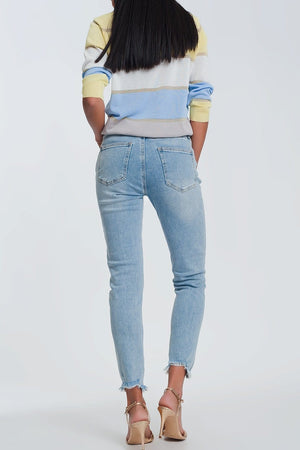 Ripped Knee Raw Hem Skinny Jeans in Light Blue - Himelhoch's