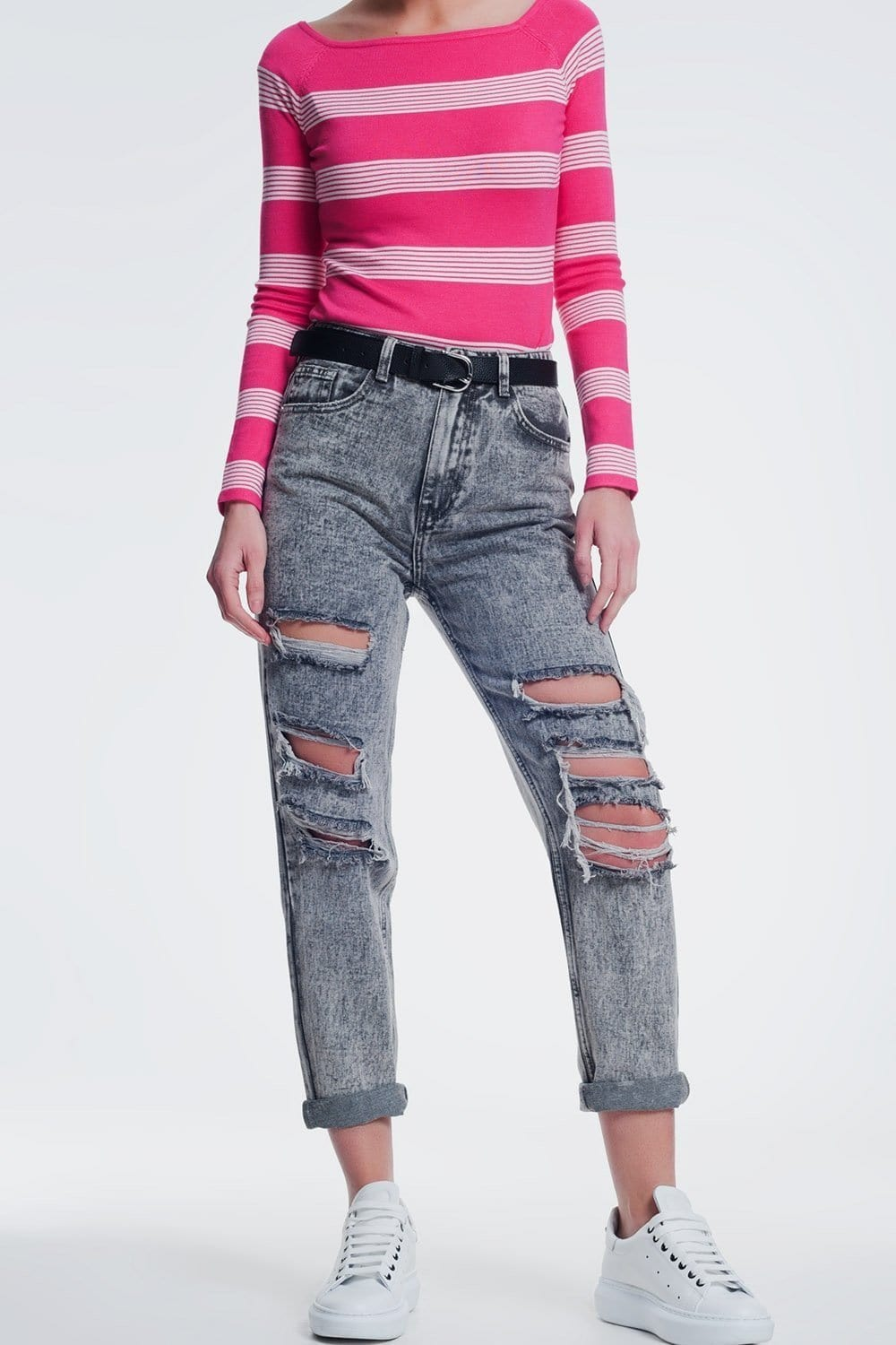 Ripped Straight Jeans in Gray - Himelhoch's