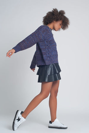 Round Neck Cable Jumper in Purple - Himelhoch's