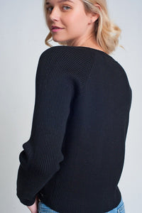 Round Neck Rib Knitted Sweater in Black - Himelhoch's