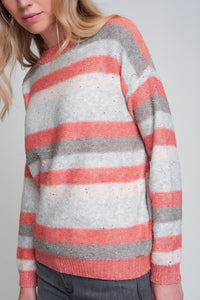 Round Neck Sweater in Red with Stripes and Long Sleeves - Himelhoch's