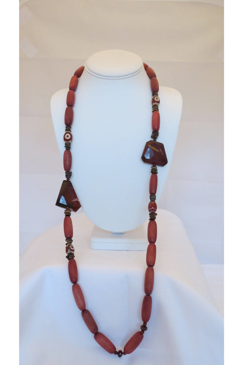 Australian Mookaite Jasper & Etched Carnelian Beads With Rosewood & Coconut Husk Necklace