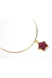 Ruby Star Charm Adjustable Bangle - Himelhoch's
